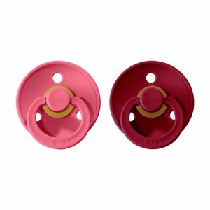 BIBS Colour dudlíky z přírodního kaučuku 2 ks - vel. 2 Coral + Ruby