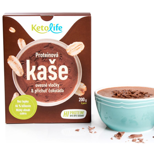 KetoLife Proteinová kaše - Ovesné vločky a příchuť čokoláda 5 x 40 g - SLEVA - EXPIRACE DO 2.4.2021