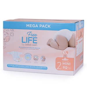Ontex Group Mega Pack BébéCash Premium Mini (3-6 kg ,112 ks)