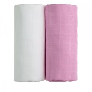 T-tomi Látkové TETRA osušky 90 x 100 cm 2 ks white + pink / bílá + růžová