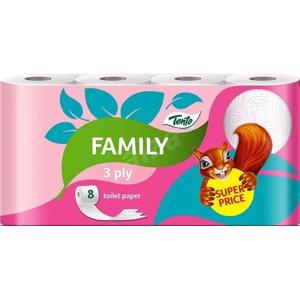 Tento Family Pink 3vrstvý toaletní papír, role 128 útržků, 8 rolí