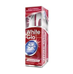 White Glo Profesionální bělící zubní pasta 150 g + kartáček na zuby a mezizubní kartáčky